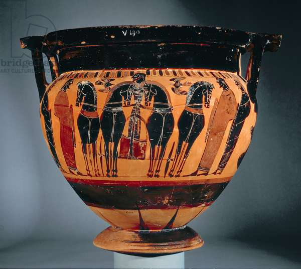Attic black-figure column krater depicting a chariot (pottery)