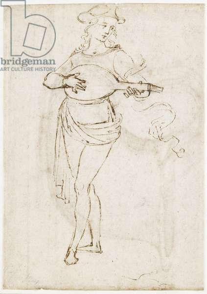 Recto: A Lute Player, WA1846.6 (pen & dark brown ink over black chalk on off-white paper)