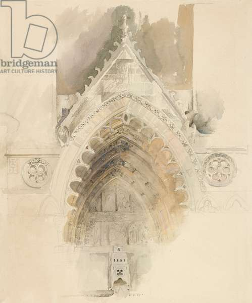 The Northern Arch of the West Entrance of Amiens Cathedral, 17-18 May or 23 September 1856 (w/c over graphite on wove paper)