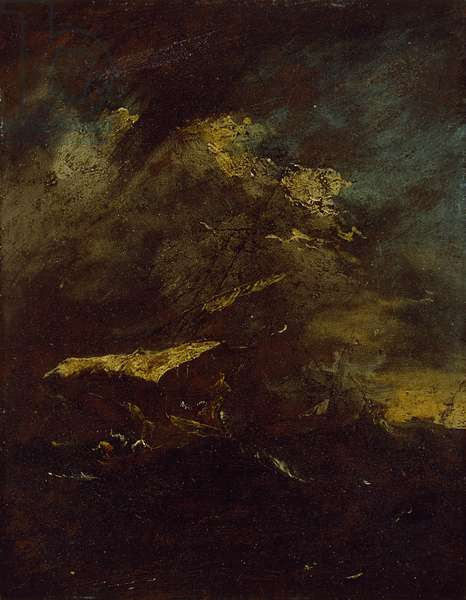 Two Vessels in a Storm (oil on panel, mounted as a drawing)