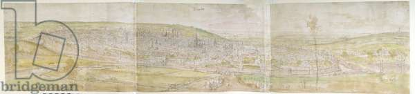 Panoramic View of Brussels from the North, 1558 (pen and brown ink with watercolour over traces of black chalk)