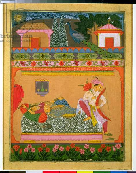 Lovers at Daybreak, illustration of the musical mode 'Raga Vibhasa', Northern Deccan or Southern  Rajasthan, c.1675 (gouache with silver and gold on paper)