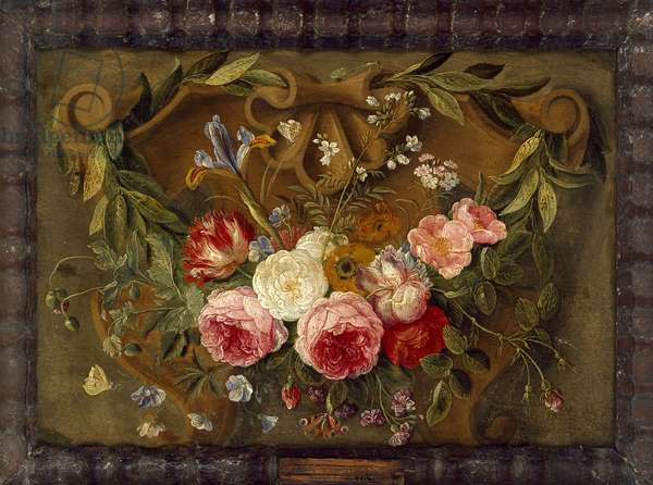 Decorative Still-Life Composition with a Garland of Flowers (oil on copper)