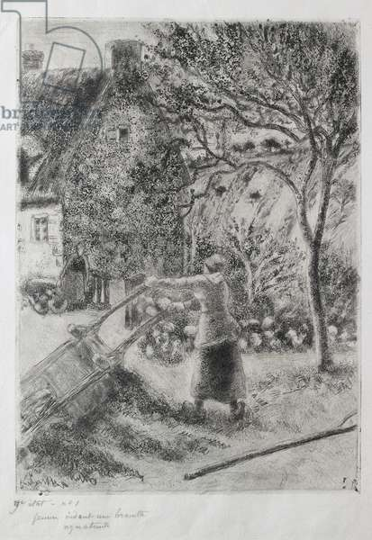 Woman emptying a wheelbarrow, 1880 (drypoint, aquatint, sandpaper and open bite etching)