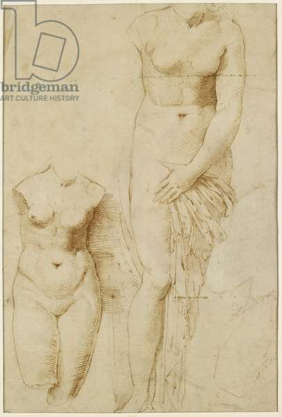 Recto: Two Figures of Aphrodite. Verso: Male Figure in Action, WA1846.261 (pen & brown ink on buff paper, red chalk)