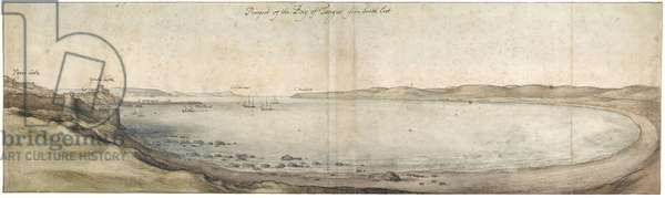 Prospect of the Bay of Tangier from the south-east (Pen and brown ink and watercolour over graphite)