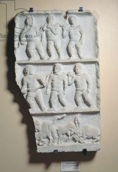 Men in chains, relief found at Smyrna (marble)