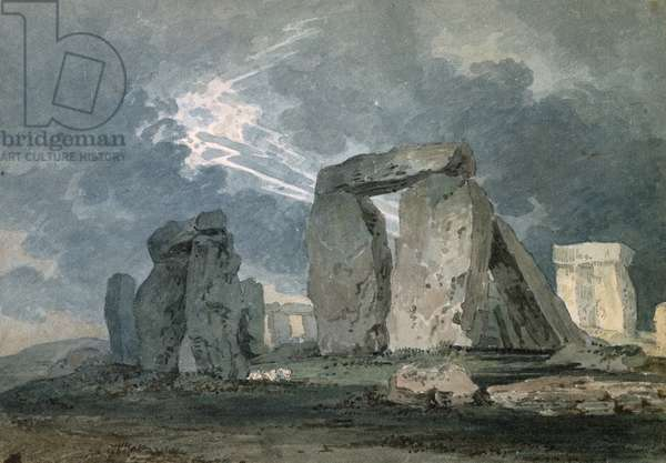 Stonehenge during a Thunderstorm, c.1794 (watercolour over indications in graphite, touched with the reed pen)