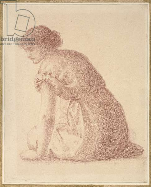A Seated Figure of a Woman, 19th century (red chalk on paper)