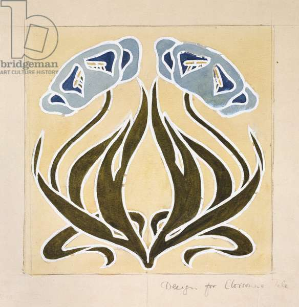 Design for a 'Minstrel Tile' (pen with blue ink and watercolour and graphite on discoloured off-white paper)