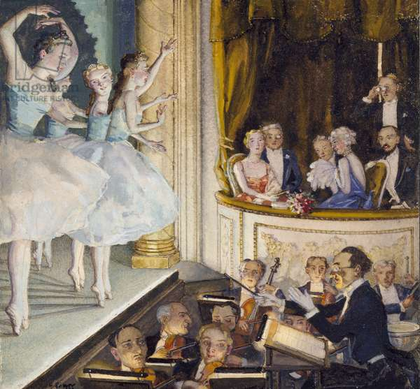 Russian ballet, 1930 (bodycolour within a delineated border in black ink on cream paper)