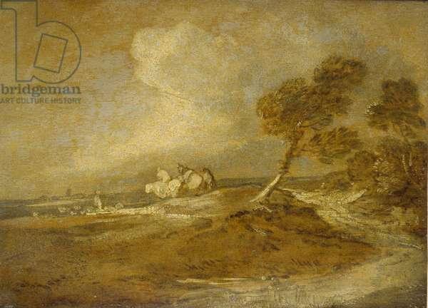 A Landscape with Horsemen (oil on paper)