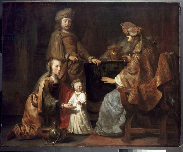 The Infant Samuel Brought by Hannah to Eli, 17th century (oil on canvas)