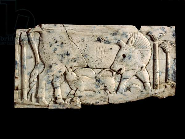 Plaque depicting a cow and a calf among papyrus plants, c.850-700 BC (ivory carving)