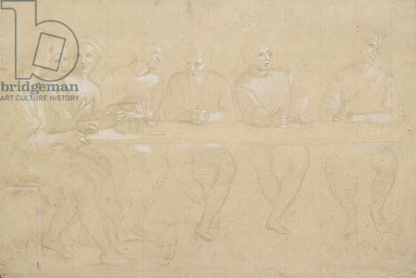 Recto: Part Study for a Composition of the Last Supper. Verso: a female head, WA1846.151 (metalpoint on pink prepared paper with white heightening, squared for transfer black chalk)