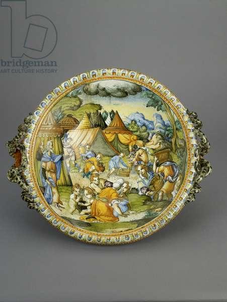 Basin with the Gathering of Manna, probably Urbino, c.1600-20 (maiolica)