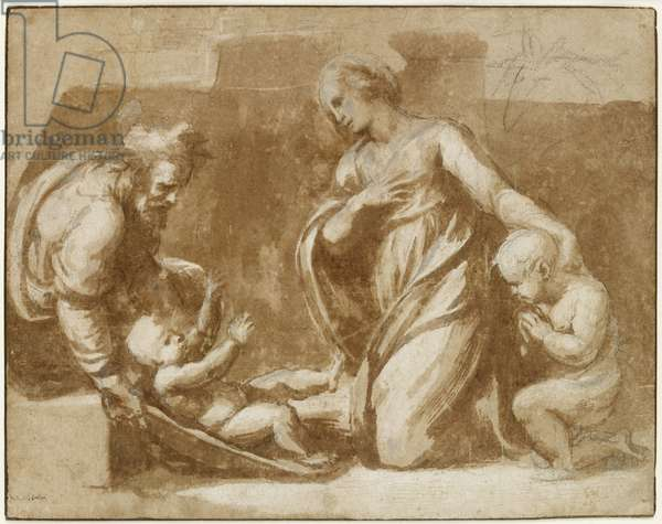 The Holy Family, WA1940.68 (brush drawing in brown ink, heightened with white bodycolour (partly oxidized), over black chalk on off-white paper)