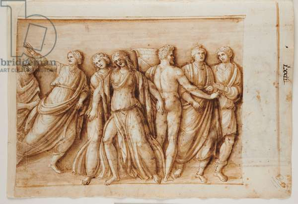Folio 61, recto: the Return of Meleager from a Roman sarcophagus, Rome, Palazzo Barberini, c.1512-17 (pen & brown ink with brown wash)