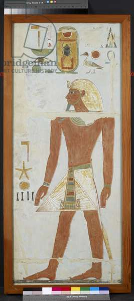 Copy of a wall painting of Thutmose I from the Chapel of Anubis, Great Temple, Deir El-Bahri, 20th century (egg tempera on panel)