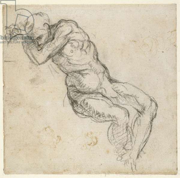 Study of a male nude, c.1511 (pen & black chalk on paper)