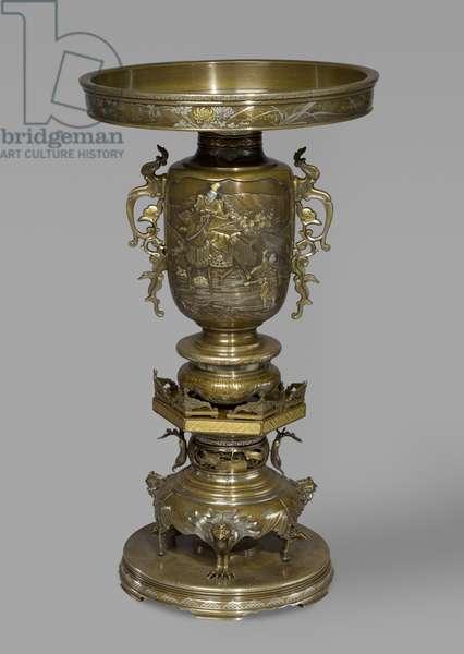 Flower Vase with soft metal inlays, c.1870-80 (bronze)