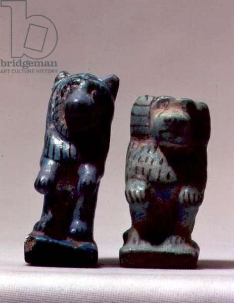 Lion and Baboon figurines, from Tomb 416 at Abydos, New Kingdom (glazed earthenware)