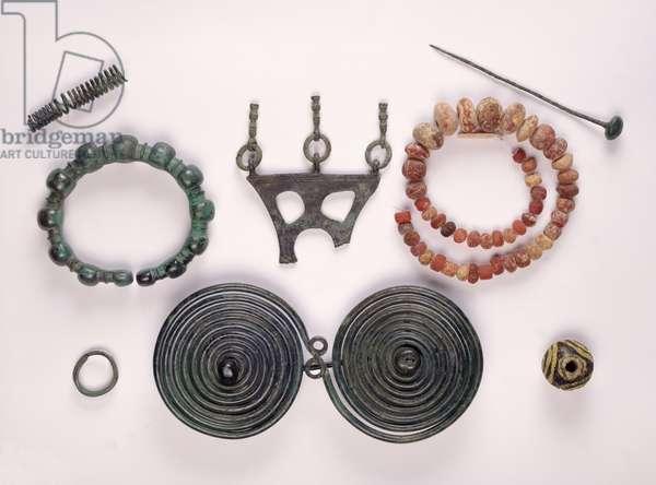 Jewellery found in a female grave at Hallstatt, Celtic