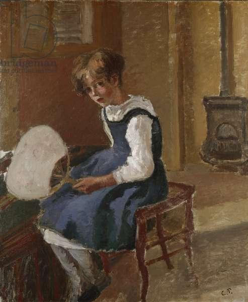 Portrait of Jeanne Holding a Fan, 19th century (oil on canvas)