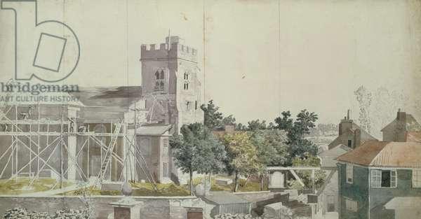 Twickenham Church under Scaffolding, 18th century (w/c, pen & ink on paper)