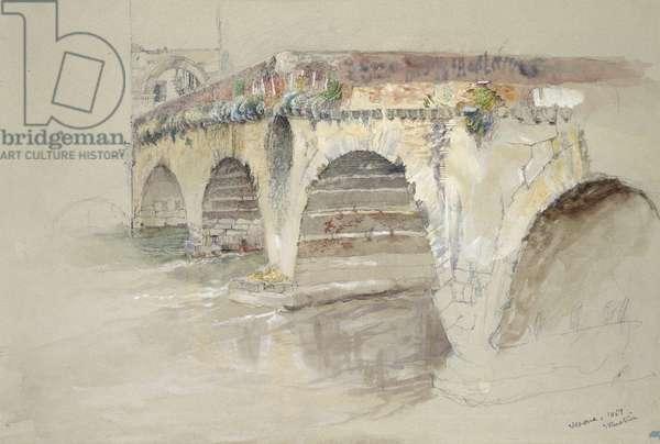 The Ponte della Pietra, Verona, 14 - 17 June 1869 (watercolour and bodycolour over graphite on grey wove paper)