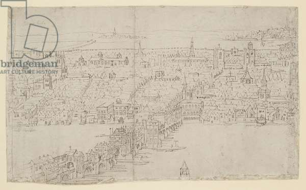 London Bridge, from 'The Panorama of London', c.1544 (pen and ink and chalk on paper)