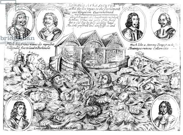 England's Ark Secured and the Enemies to the Parliament and Kingdom Overwhelmed, 1645-46 (engraving) (b/w photo)