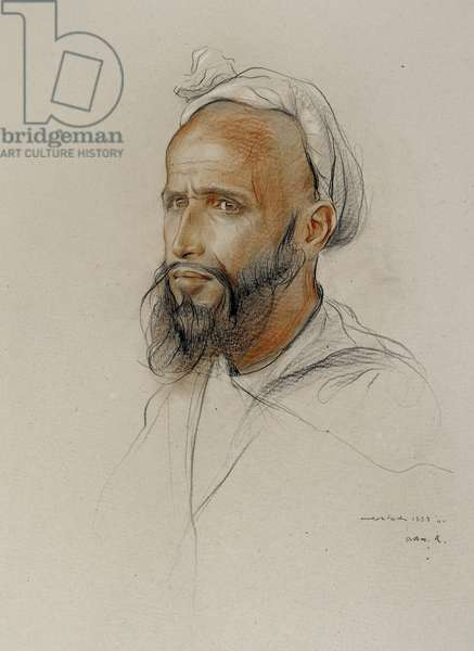Portrait of an Arab, 1934 (black, white and red chalk on grey-buff board)