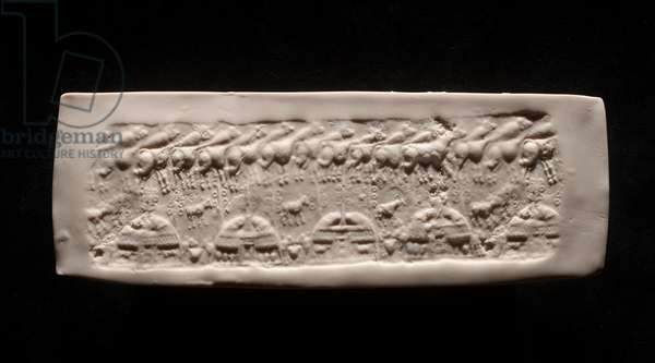 Impression from cylinder seal with milking scene
