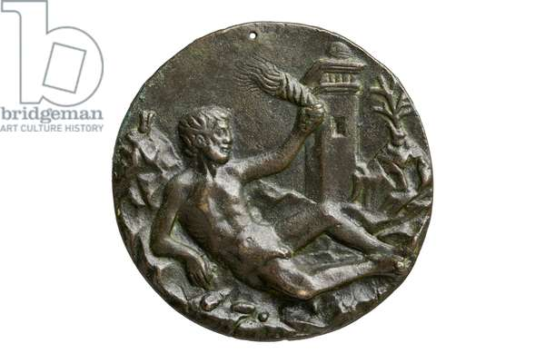 Reverse of the Mehmed II medal, depicting a reclining male nude on a rocky plane, c.1460-70 (bronze)