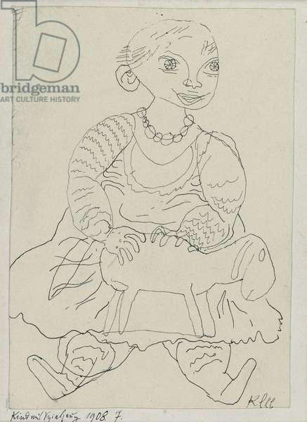 Child with a Toy, 1908 (pen and ink on paper on cardboard)