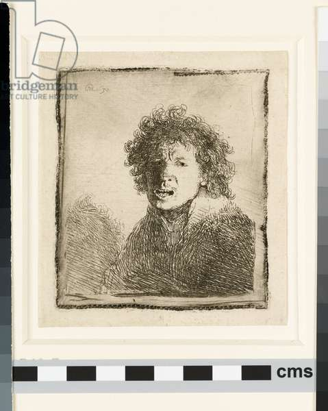 Self-portrait open mouthed, 1630 (etching)