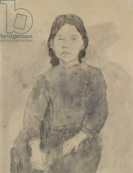 Seated Girl (Marie Hamonet?) (charcoal, grey wash & bodycolour on grey paper)