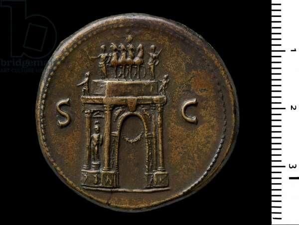 Reverse of Coin depicting Emperor Nero, 64 (brass)
