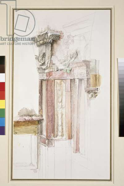 Pilaster on the Facade of Sant' Anastasia, Verona, June 1869 (w/c & bodycolour over graphite on paper, some lines ruled)