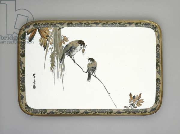 Tray with two sparrows on a branch, c.1880 (cloisonne enamel)