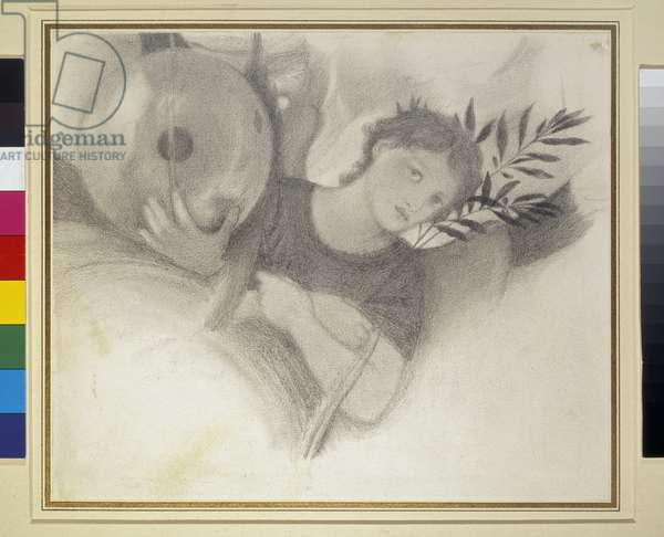 """Study for a Head in """"The Days of Creation"""", c. 1871 - 1875 (graphite and black chalk on off-white paper)"""