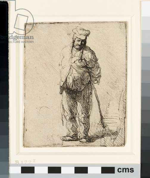 Ragged Peasant with his Hands behind Him, holding a Stick, c.1630 (etching)
