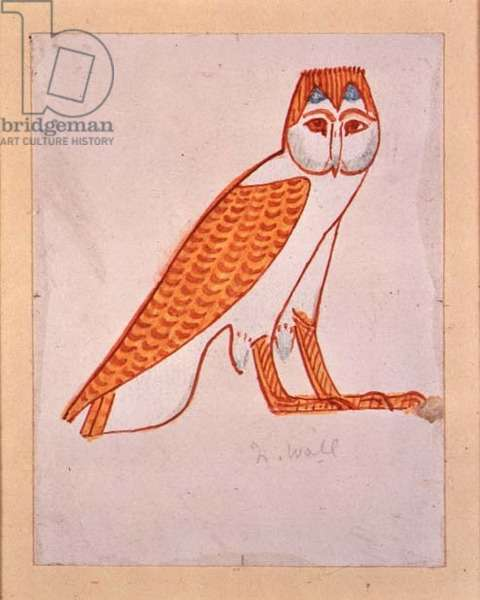 Owl, copy of an Egyptian tomb painting, 20th century (egg tempera on panel)