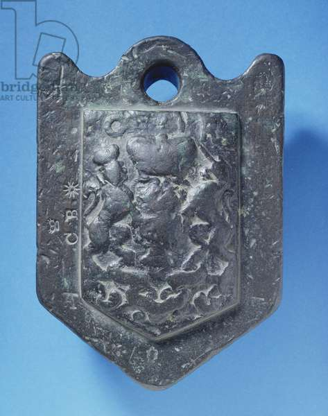 Wool-weight (14 pounds) cast with the Stuart arms and stamped C.B, 17th century (lead)