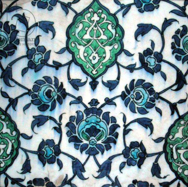 Isnik tile with floral design (earthenware with coloured underglaze)
