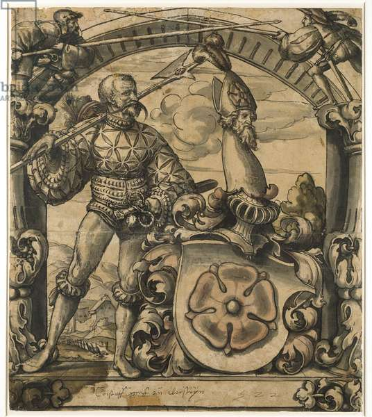 Design for an heraldic panel of stained glass, 1522 (pen and black ink with wash)