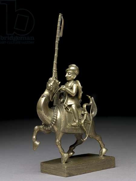 A matchlockman riding a camel, Vizagapatam, c.1795 (brass)