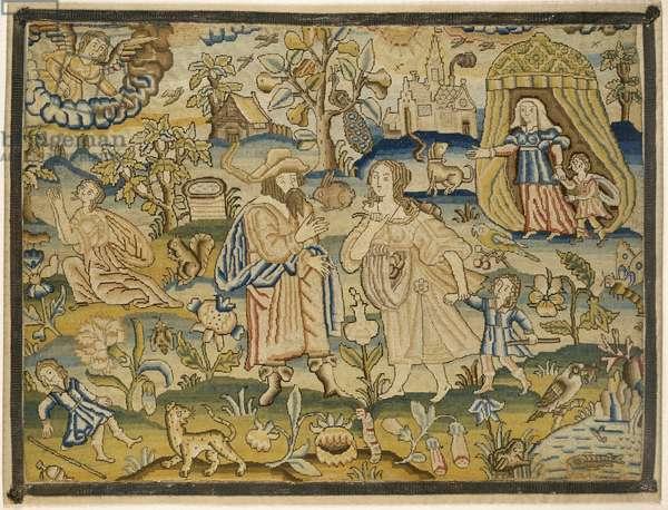 "Embroidered picture: ""Abraham's dismissal of Hagar"", mid-17th century (silk threads on linen)"
