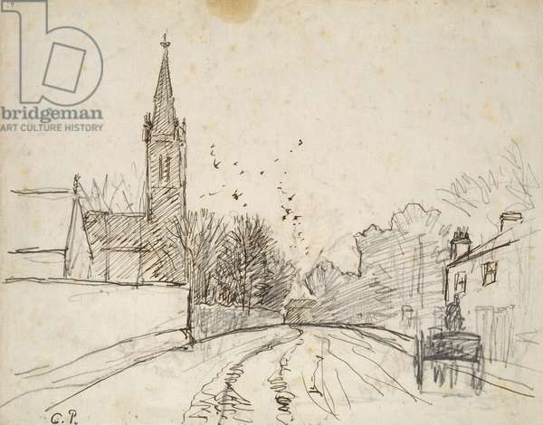 Recto: Study of Upper Norwood, London, with All Saints Church, 1871 (pen and brown ink over graphite)
